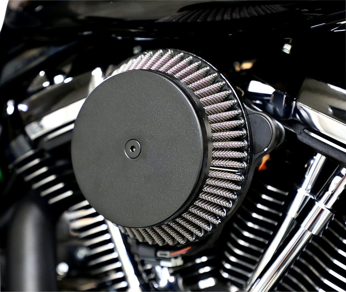 La Choppers Black Round Air Filter Kit for 17-20 Harley M8 Touring Softail FLHX
