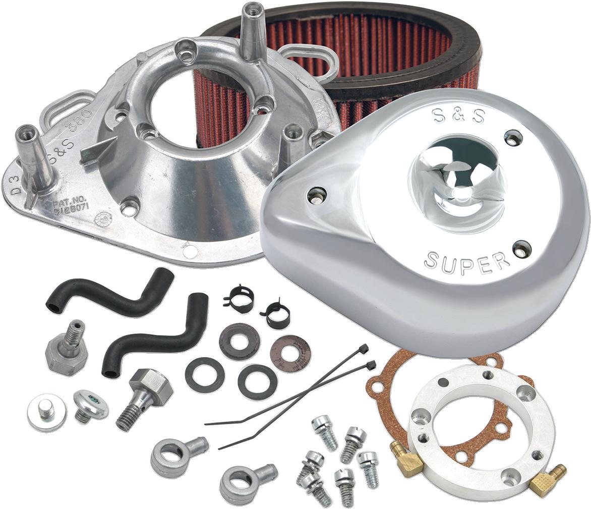 S&S Chrome Teardrop Air Cleaner Filter Kit 01-17 Harley Dyna Softail FXSTI FLD