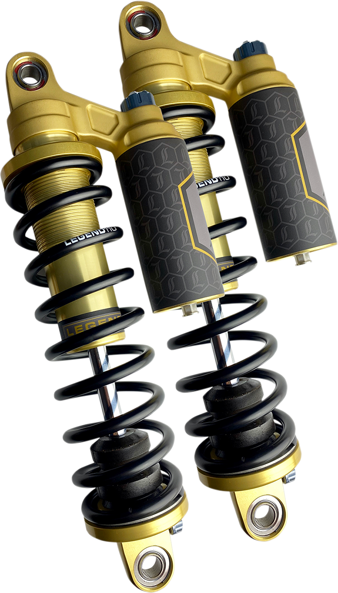 "Legend Revo-ARC Gold 14"" Heavy Duty Rear Shocks 84-00 Harley Davidson FXR FXRS"