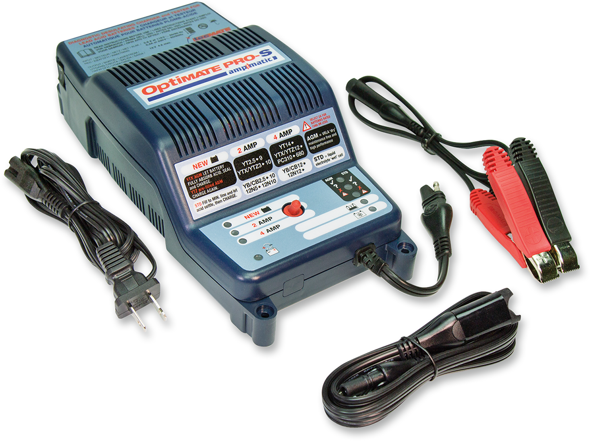 Tecmate Optimate Pro-S Ampmatic Universal Motorcycle Battery Charger Maintainer