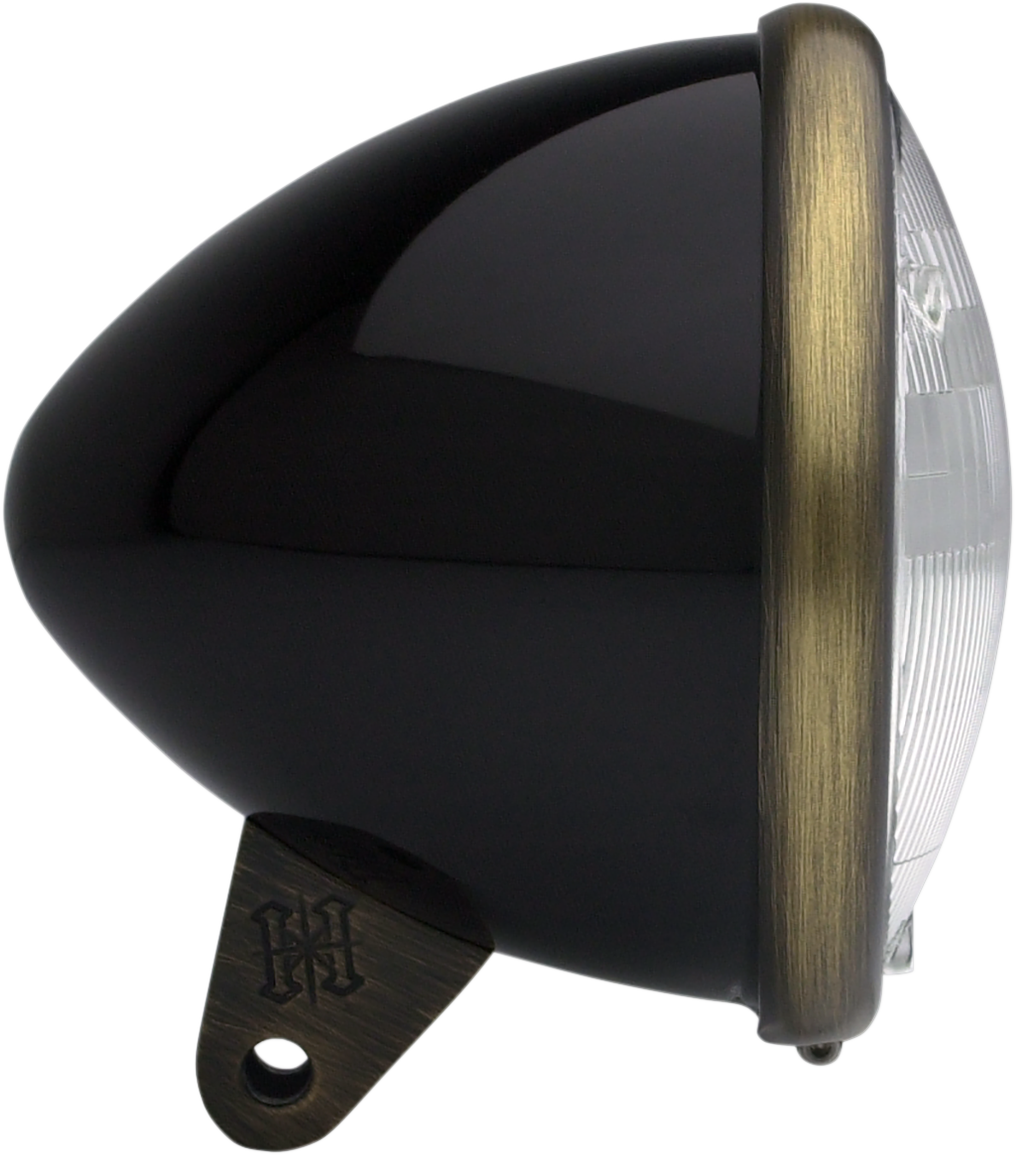"""Headwinds Black Brass 5 3/4"""" Front Smooth Bullet Motorcycle Headlight Housing"""