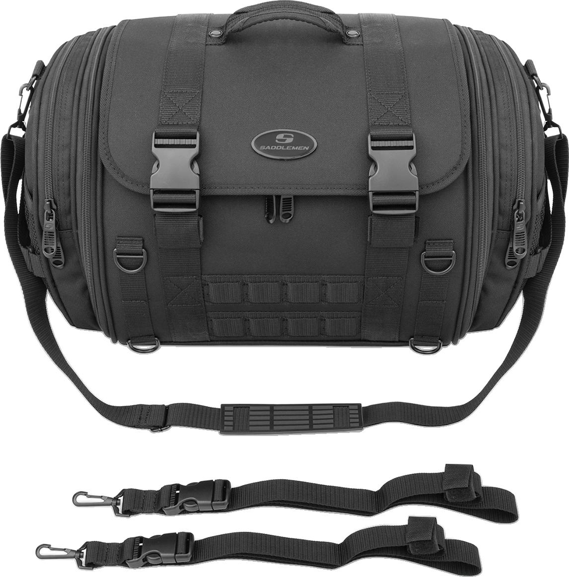 Saddlemen Tr2300DE Textile Black Tactical Sissy Bar Bag for Harley Davidson
