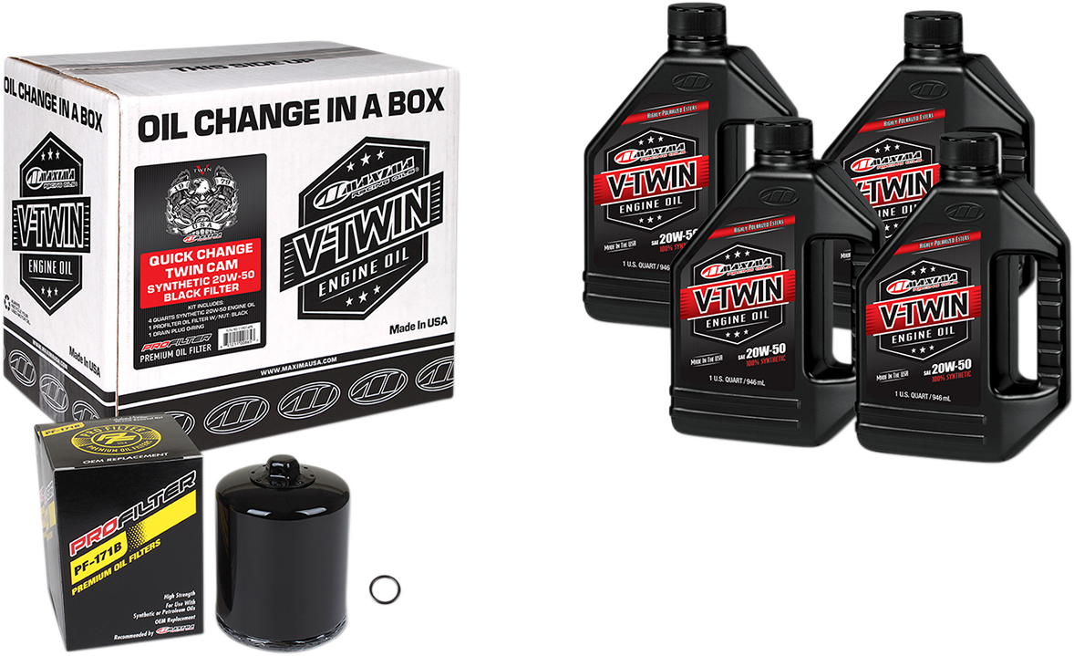 Maxima Twin Cam Quick Change Oil Kit Black Filter for 99-17 Harley Touring FLHX