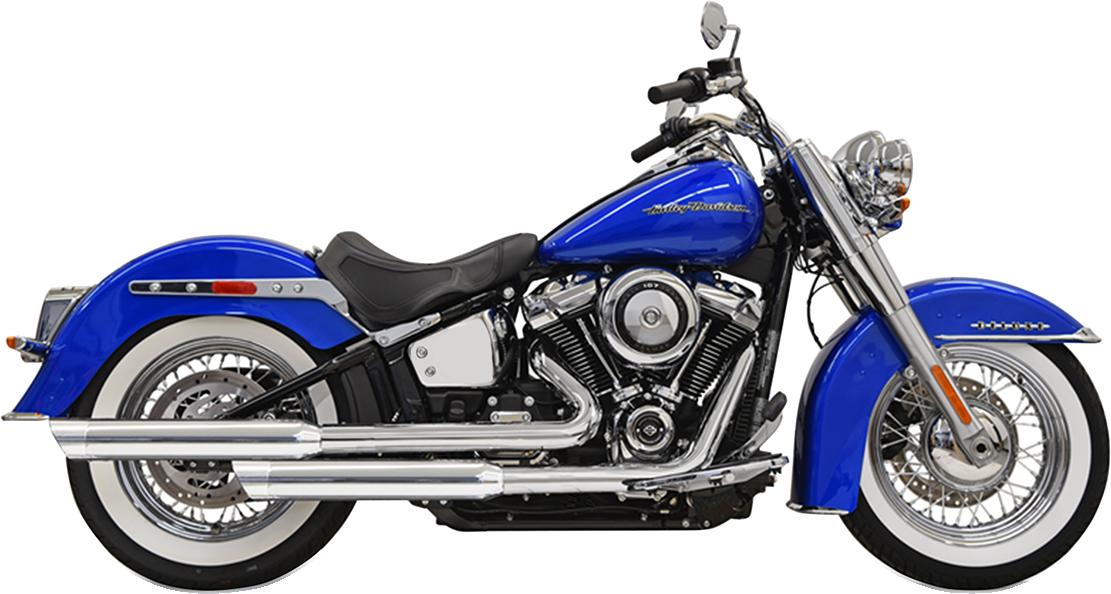 Bassani 2-2 Chrome Staggered Exhaust for 2018 Harley Softail FLDE FLHC FLHCS