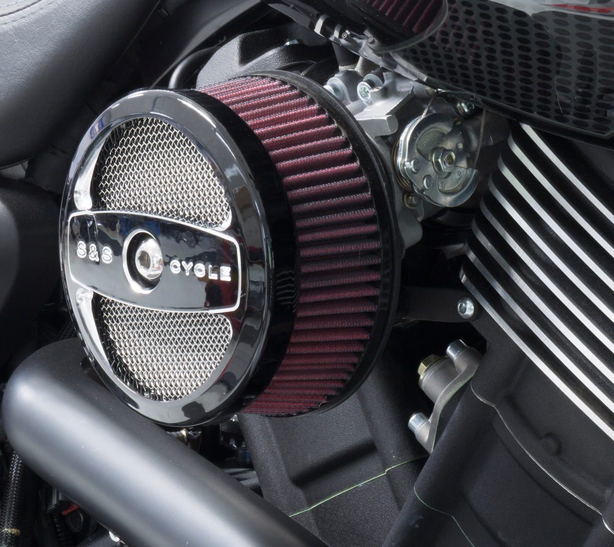 Street Rod Air Cleaners : S cycle black stealth air cleaner kit for harley