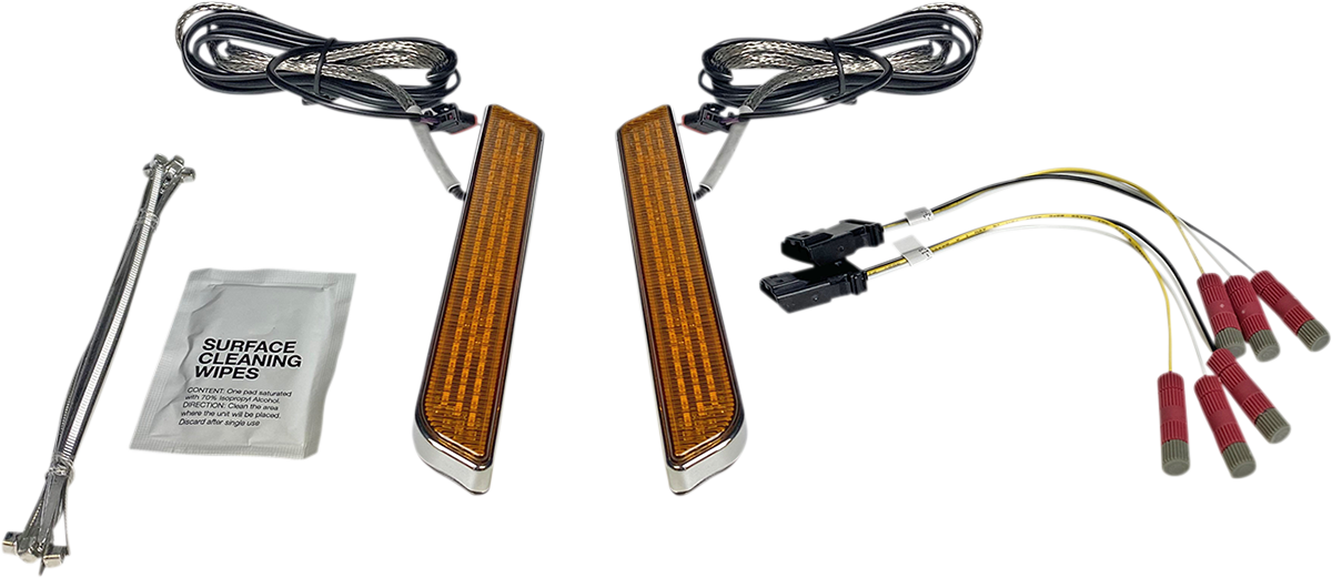 Custom Dynamics Chrome Amber LED Universal Front Fork Reflector Lights Harley