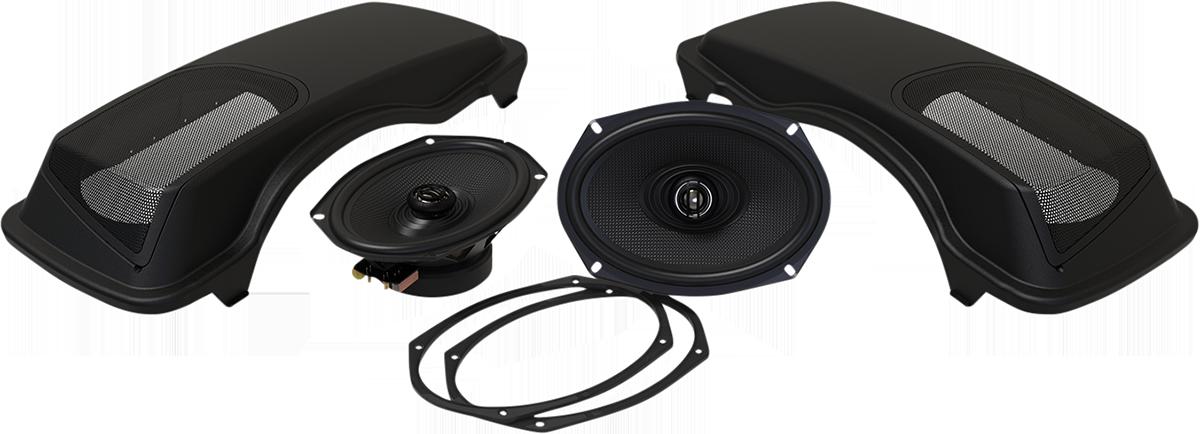 Hogtunes Black Rear Saddlebag Speaker Lid Kit 98-13 Harley Touring FLHX FLHR