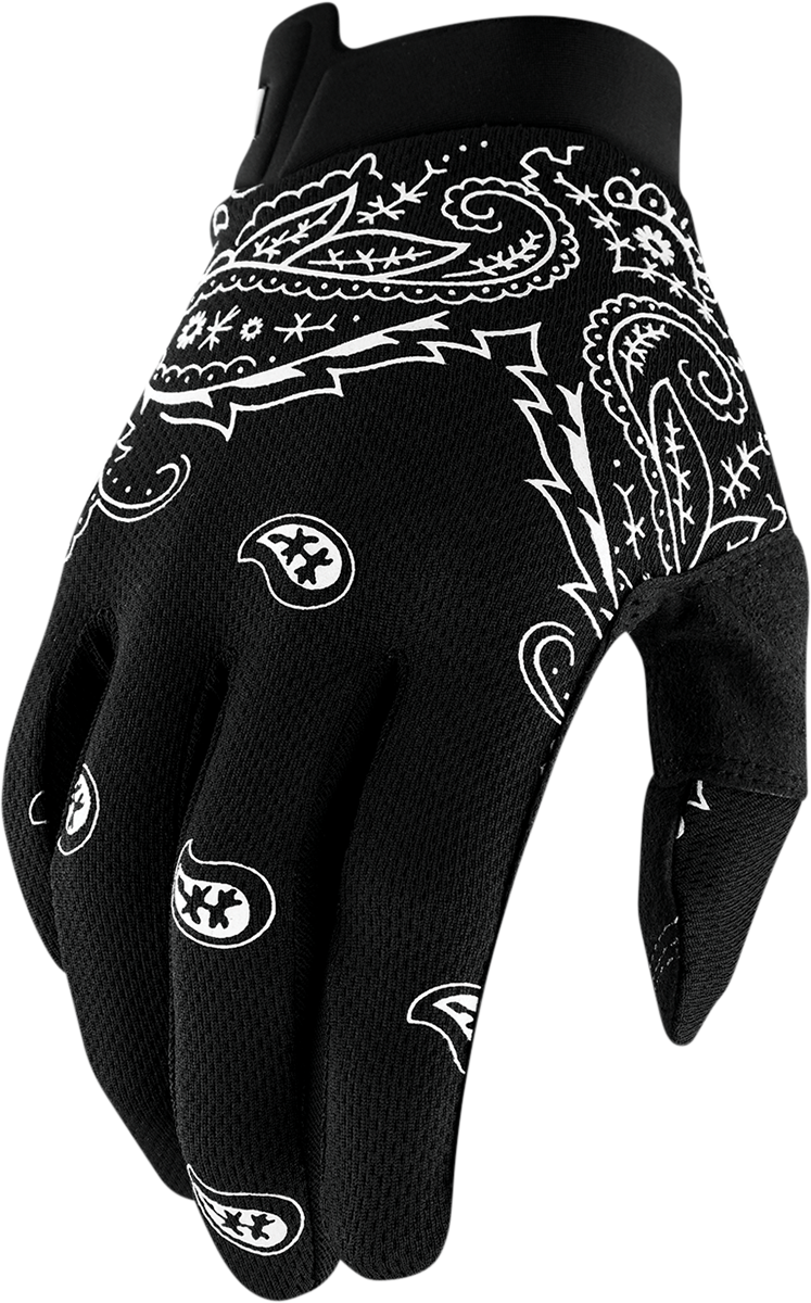 100% iTrack Black Bandana Offroad MX Motorcycle Riding Street Racing Gloves