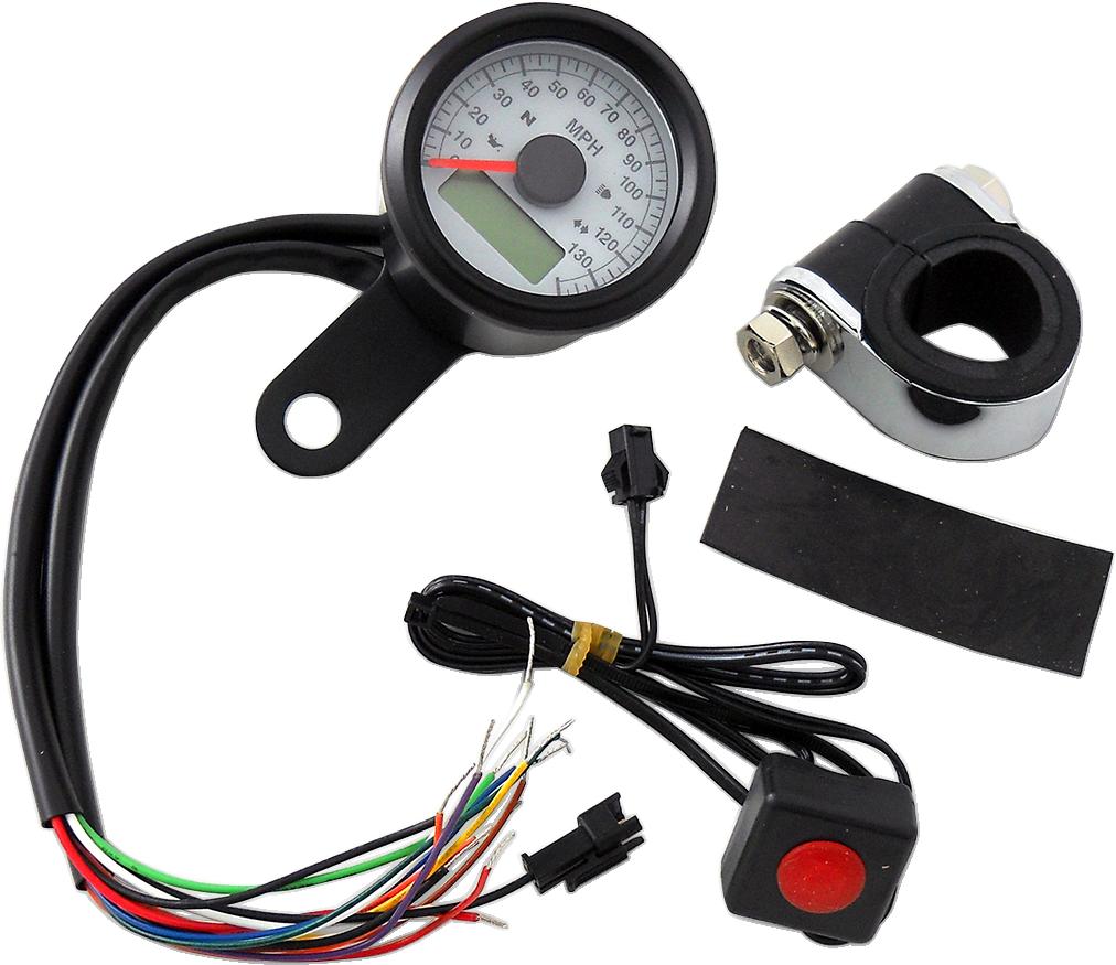 Drag Specialties Black Electronic White Face Speedo Speedometer Harley Davidson