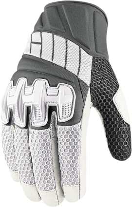 Icon Overlord Mens Leather White Medium Motorcycle Riding Gloves
