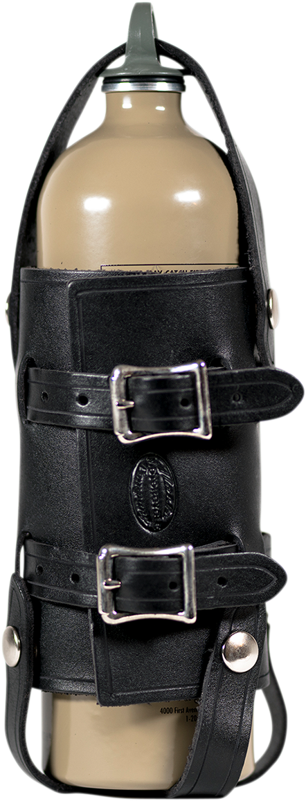 Nash Black Leather Nickel Sling Quick Snap Universal 33oz Water Bottle Holder