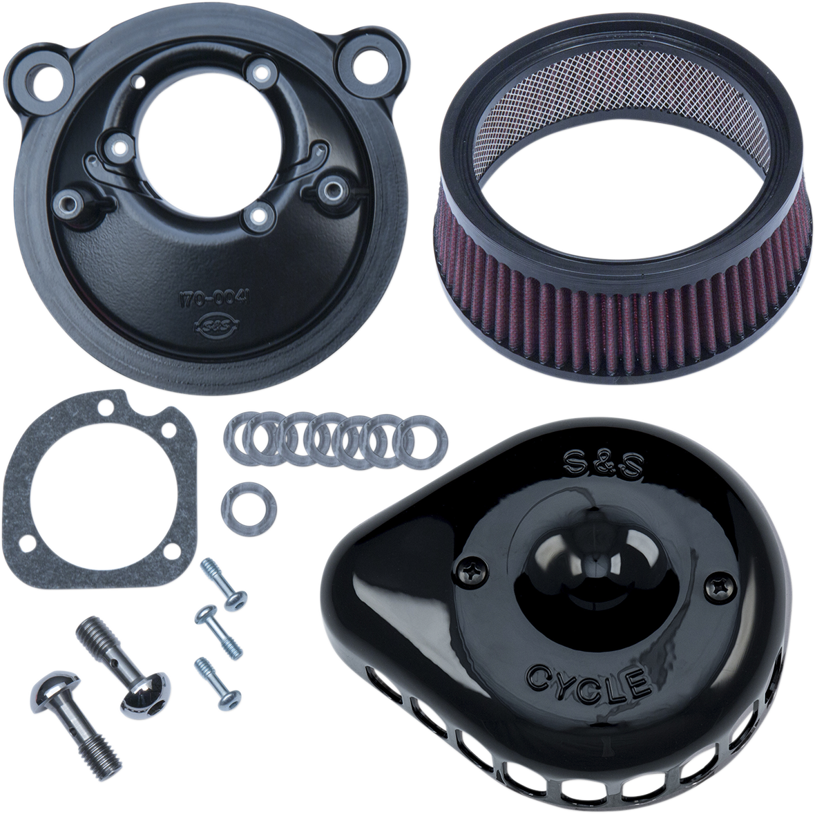 S&S Cycles Black Mini Teardrop Stealth Air Cleaner Kit for 17-18 Harley XL