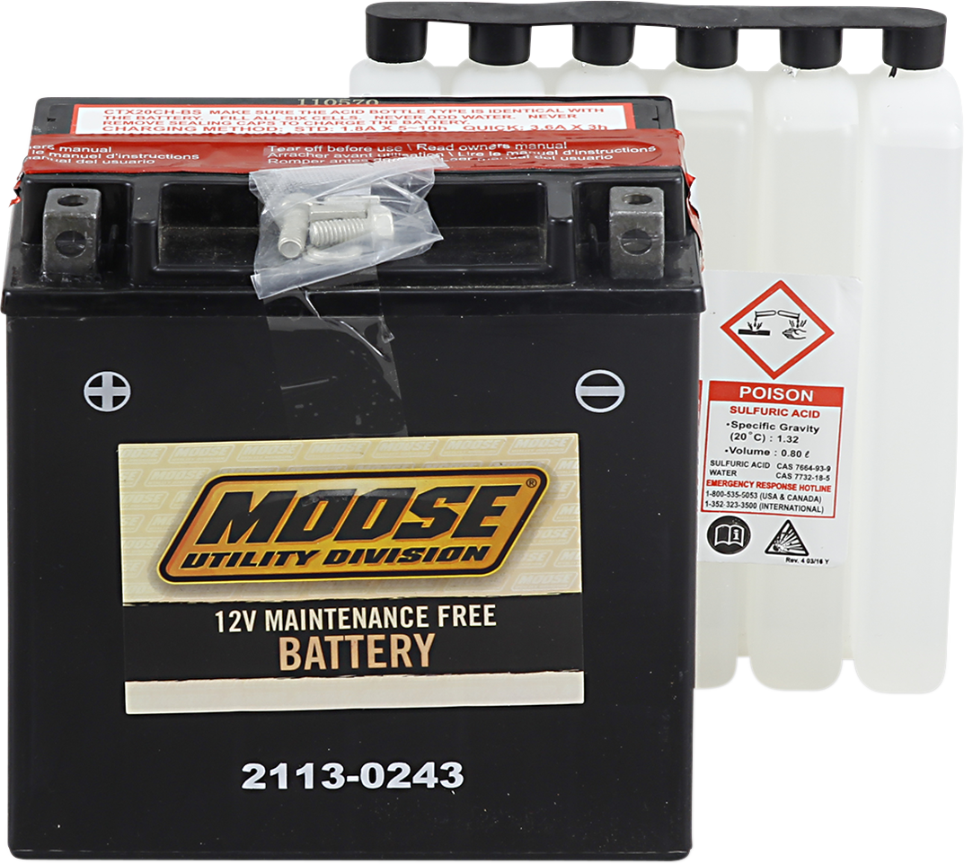 Moose YTX20CH-BS Maintenance Free Battery for 04-17 Suzuki LTA KingQuad 700 750