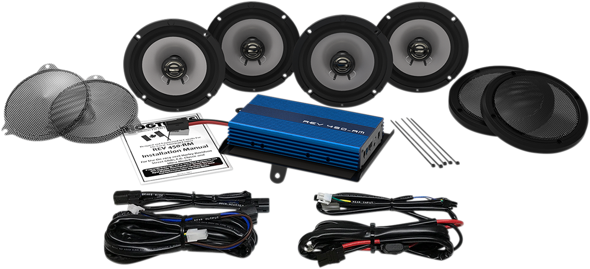 "Hogtunes 6.5"" Big Ultra 4 Speaker Amp Kit for 14-19 Harley Touring FLHTCU FLHTK"