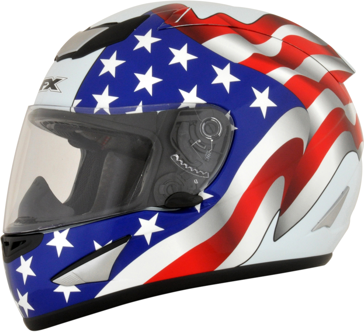 AFX FX95 Medium White American Flag Motorcycle Riding Street Racing Helmet
