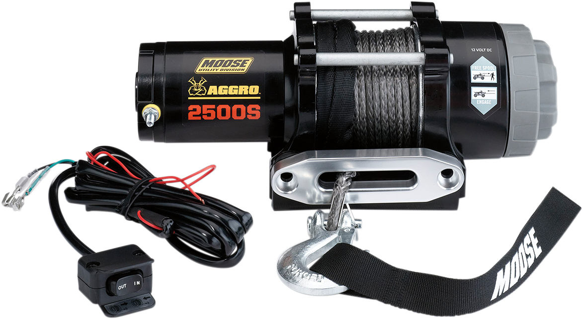 Moose Utility Black 2500 lb 50' Synthetic Rope Aggro UTV Winch