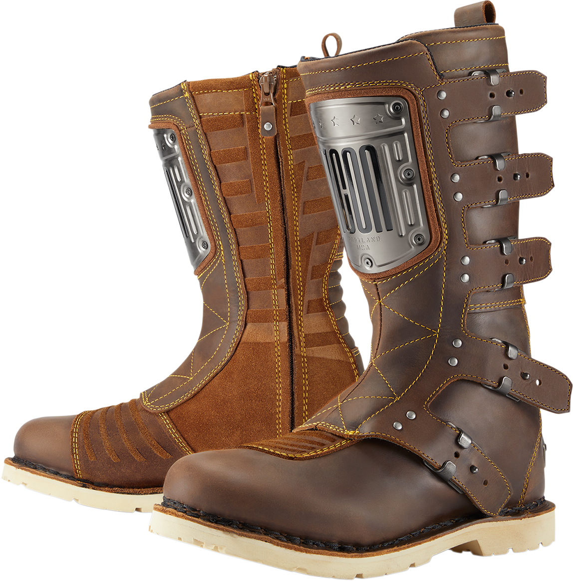 Icon Brown Elsinore HP Mens Leather Motorcycle Riding Street Racing Boots