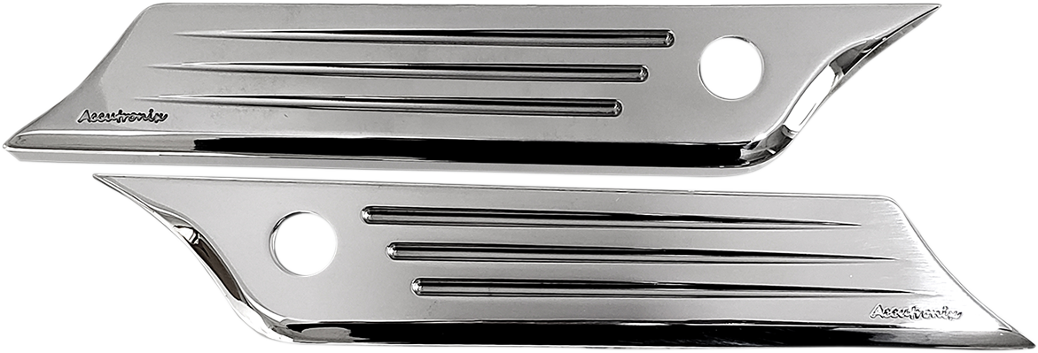 Accutronix Chrome Speed Ball Rear Saddlebag latch Covers 14-20 Harley Touring