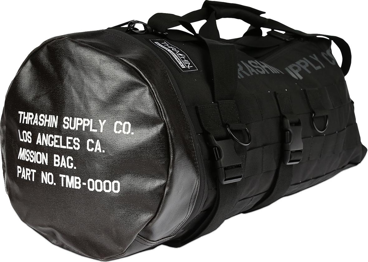 Thrashin Black Zipper Mission Sissybar Molle Webbing Duffle Bag for Harley