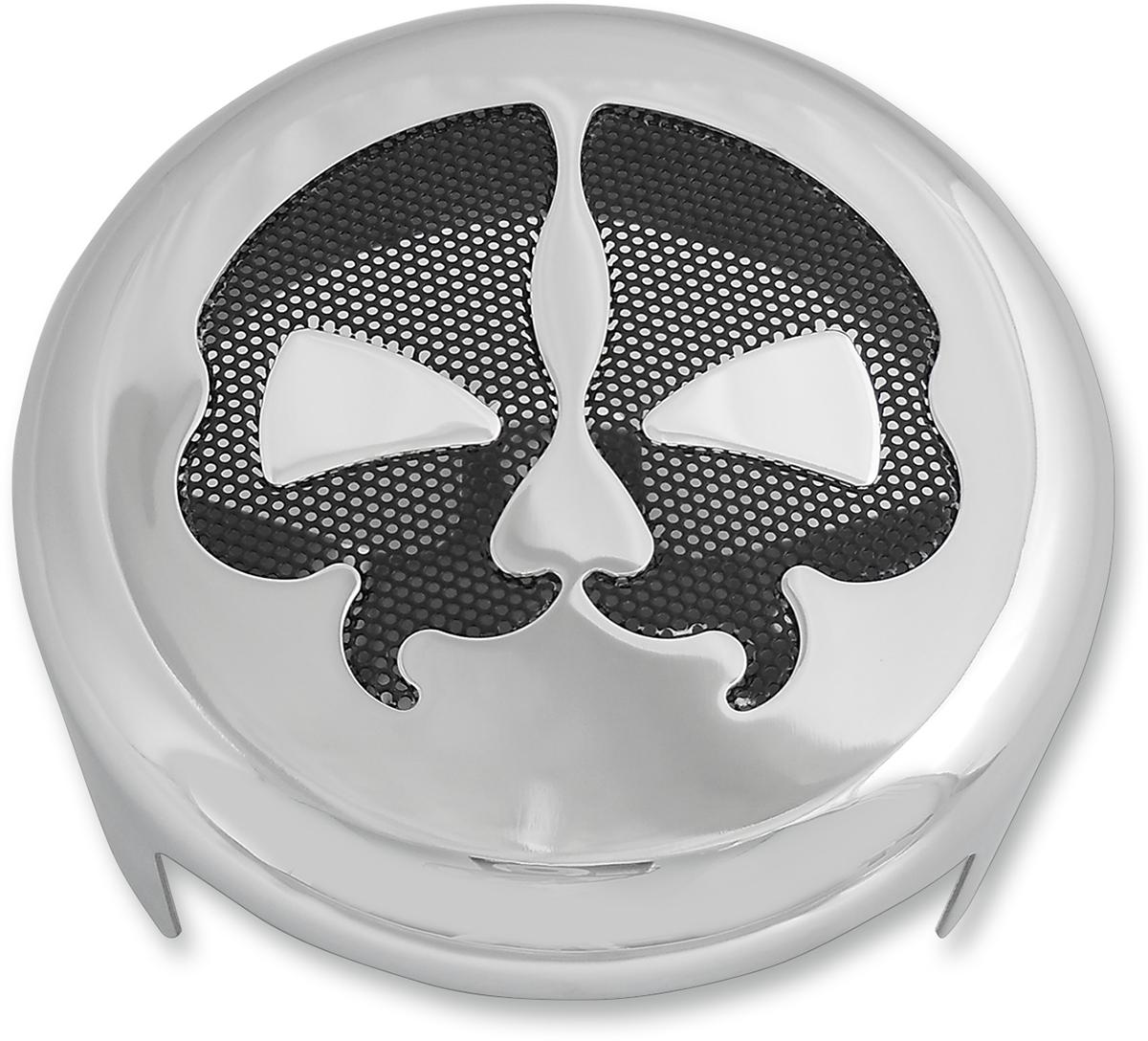 "Drag Specialties 4 5/8"" Chrome Steel Split Skull Motorcycle Horn Cover"