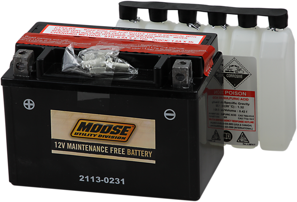 Moose YTX9-BS Maintenance Free Battery for 87-17 Arctic Cat Honda Eton Polaris