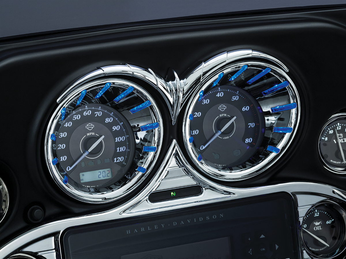 Kuryakyn 7289 Chrome Blue LED Speedo Tach Bezels for 00-13 Harley Touring FLHX