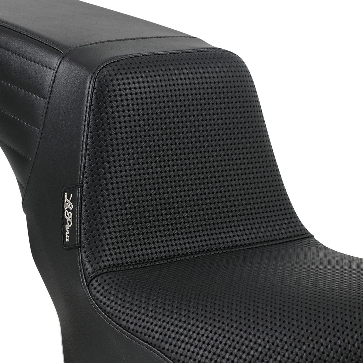Le Pera Vinyl Black Basketweave Kickflip Seat for 18-19 Harley Softail FXBB