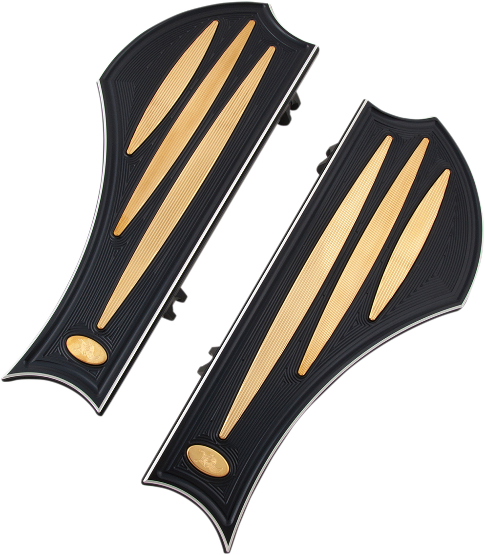 Kens Factory Black Brass Neo Fusion Floorboards 83-17 Harley Dyna Touring FLS
