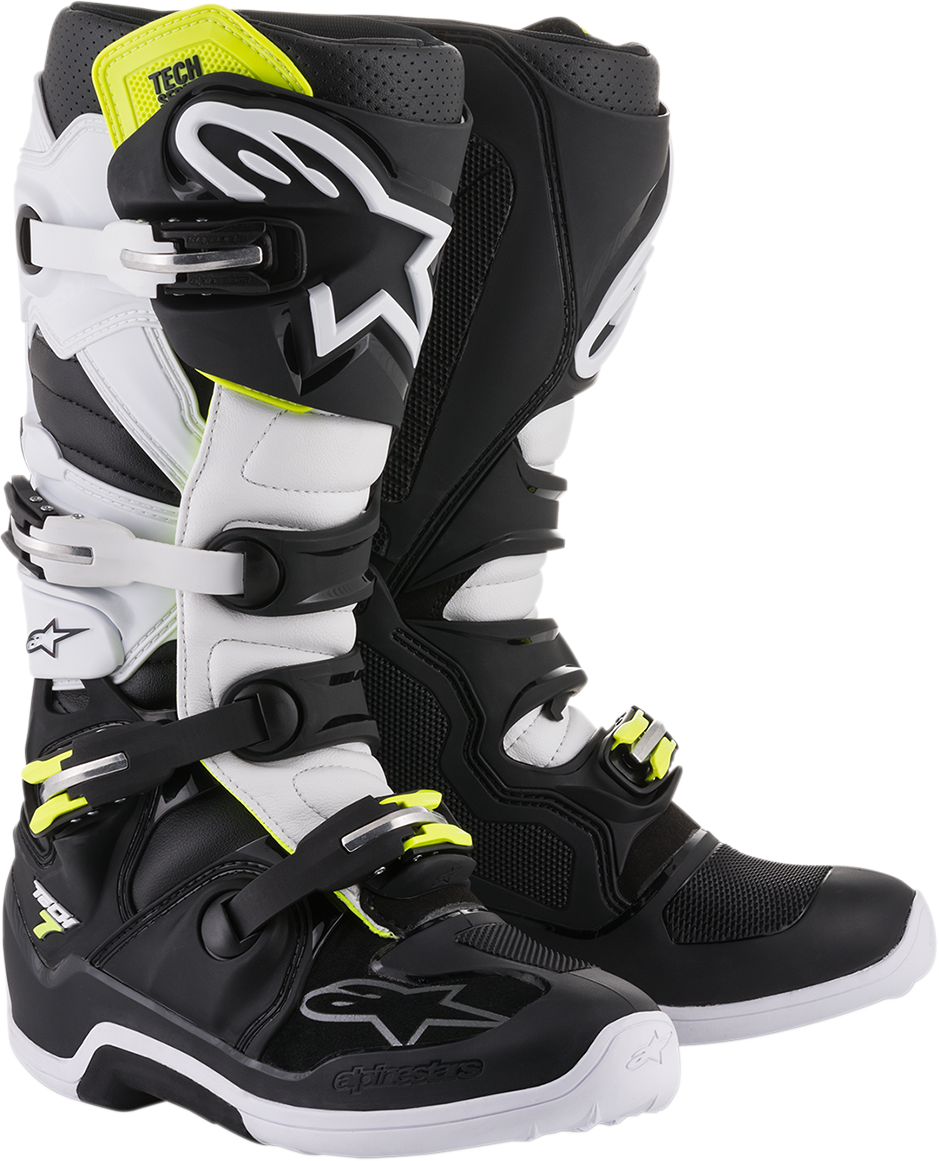 Alpinestars Mens Pair Black White Tech 7 Off Road Riding Dirt Bike Racing Boots