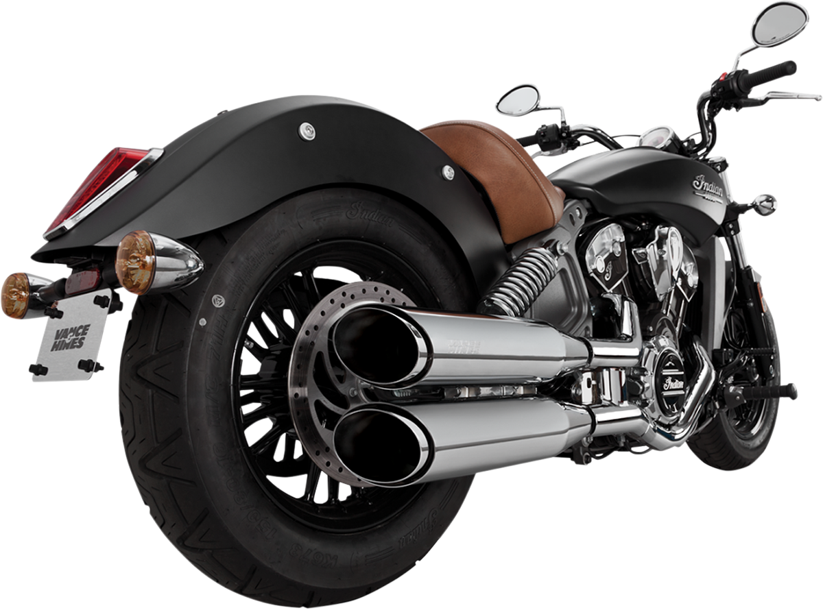 Vance & Hines Chrome Twin Slash Exhaust Mufflers for 15-18 Indian Scout
