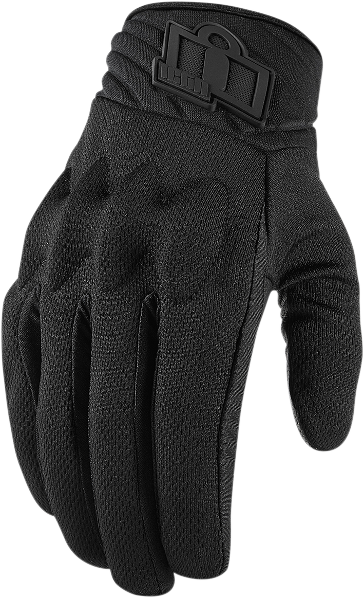 Icon Womens Black Textile Anthem 2 CE Motorcycle Riding Street Racing Gloves