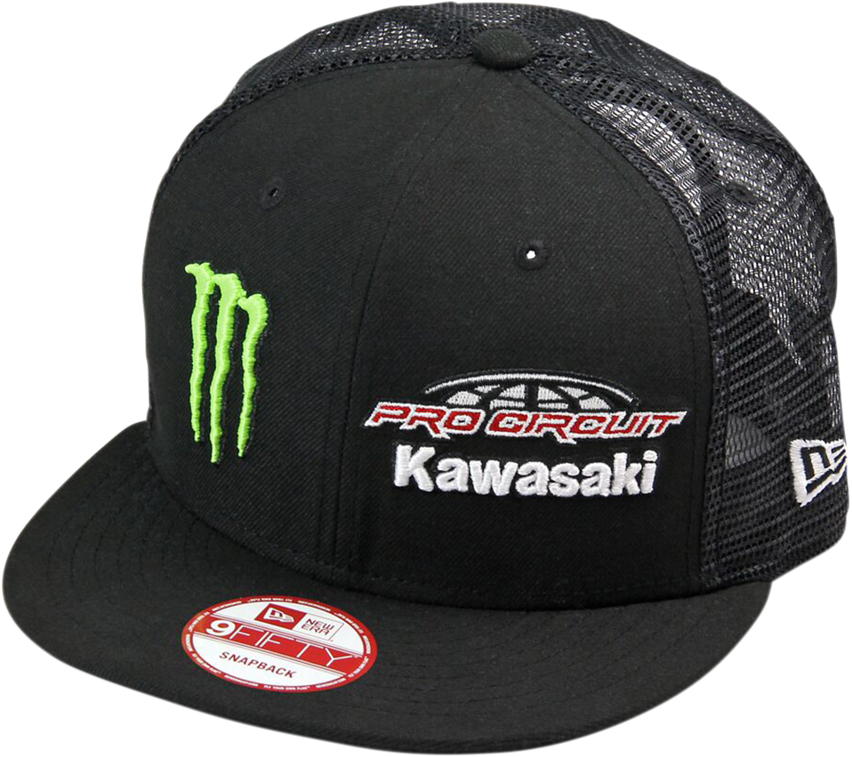 Pro Circuit Black Team Monster Energy Kawasaki Motocross Mesh Unisex Adult Hat