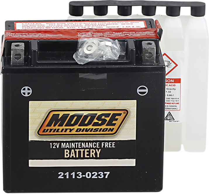 Moose YTX14-BS Maintenance Free Battery for 86-17 Honda Suzuki Yamaha Rancher