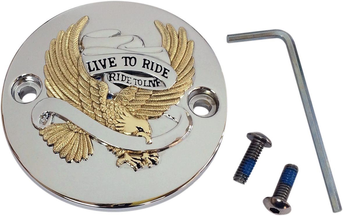 Drag Specialties Chrome Gold Live to Ride Points Cover for 17-18 Harley Touring