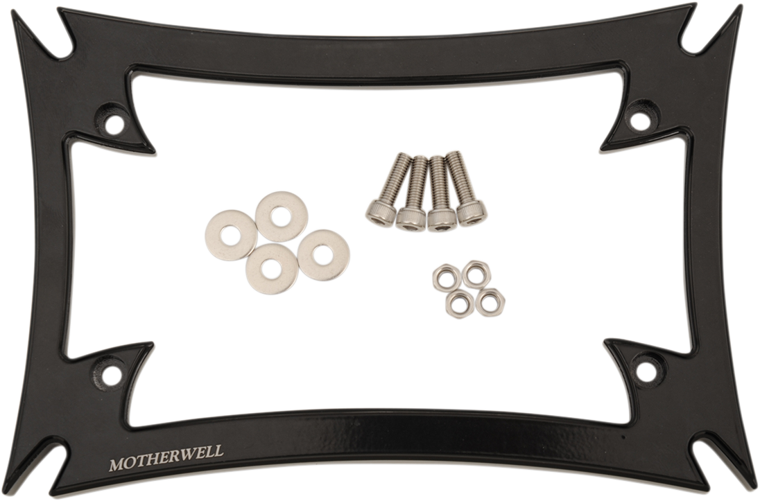 Motherwell Gloss Black Maltese Cross Rear Motorcycle License Plate Frame Kit