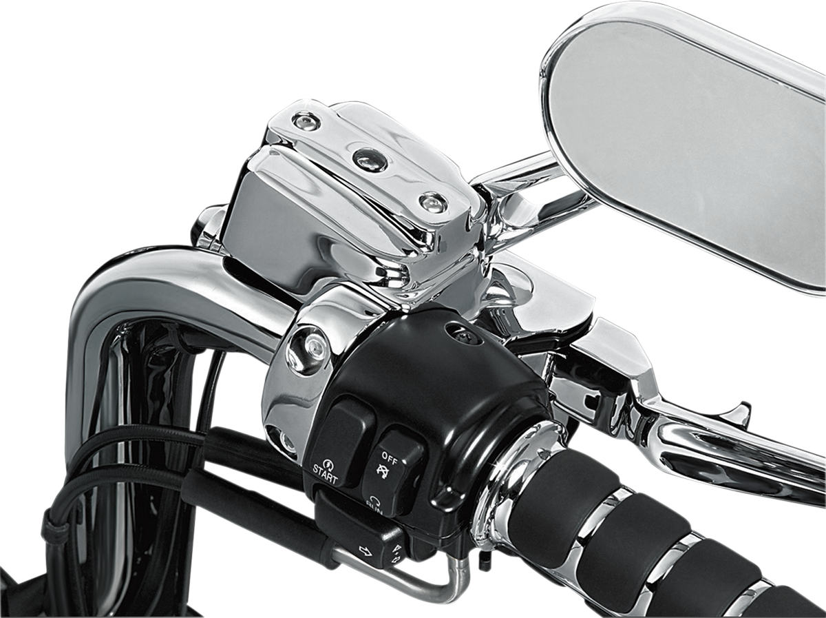 Kuryakyn 9119 Dual Disc Chrome Brake Master Cylinder Cover for 96-17 Harley Dyna