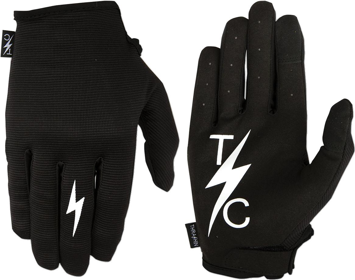 Thrashin Supply  Black Leather Textile Stealth Motorcycle Riding Street Gloves