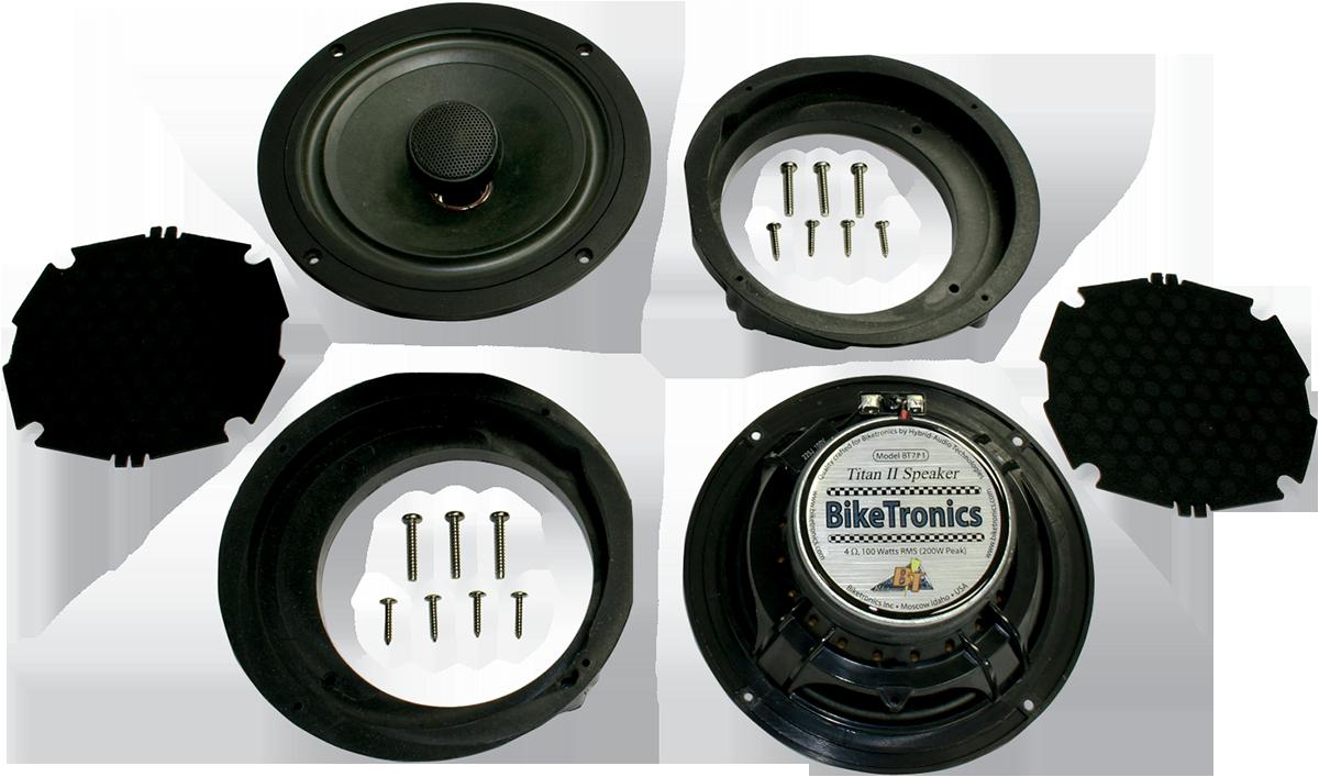 """Biketronics Titan II 7.1"""" Speaker Kit front 96-13 Harley Touring FLHT FLHX FLHTC"""