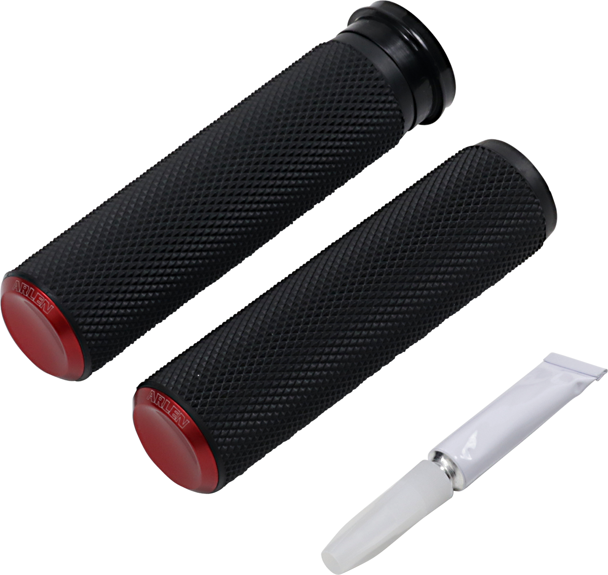 """Arlen Ness Fusion TBW Black Red 1"""" Handlebar Grips 2008-2020 Harley Touring FXDR"""