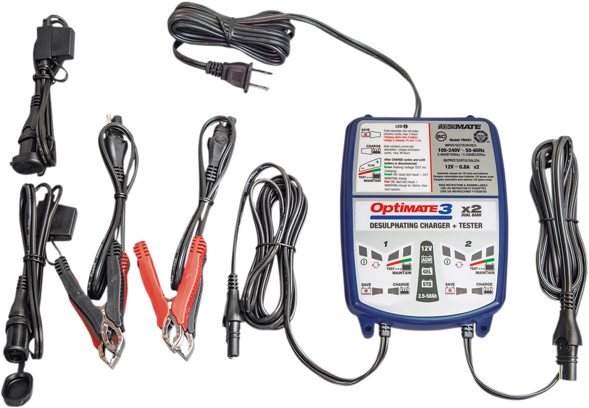 Tecmate TM-451 Optimate 3  Blue White Universal Motorcycle Dual Battery Charger