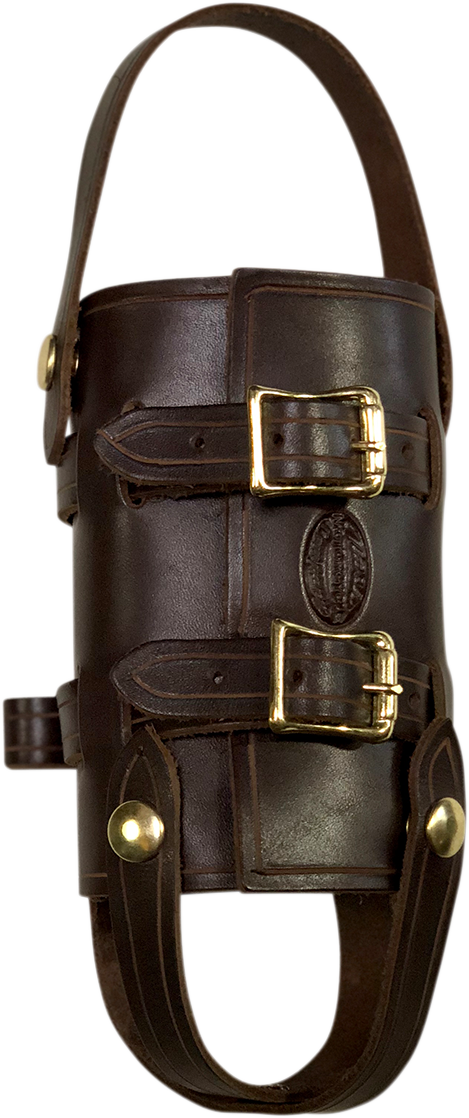 Nash Brown Leather Brass Sling Quick Snap Universal 33oz Water Bottle Holder