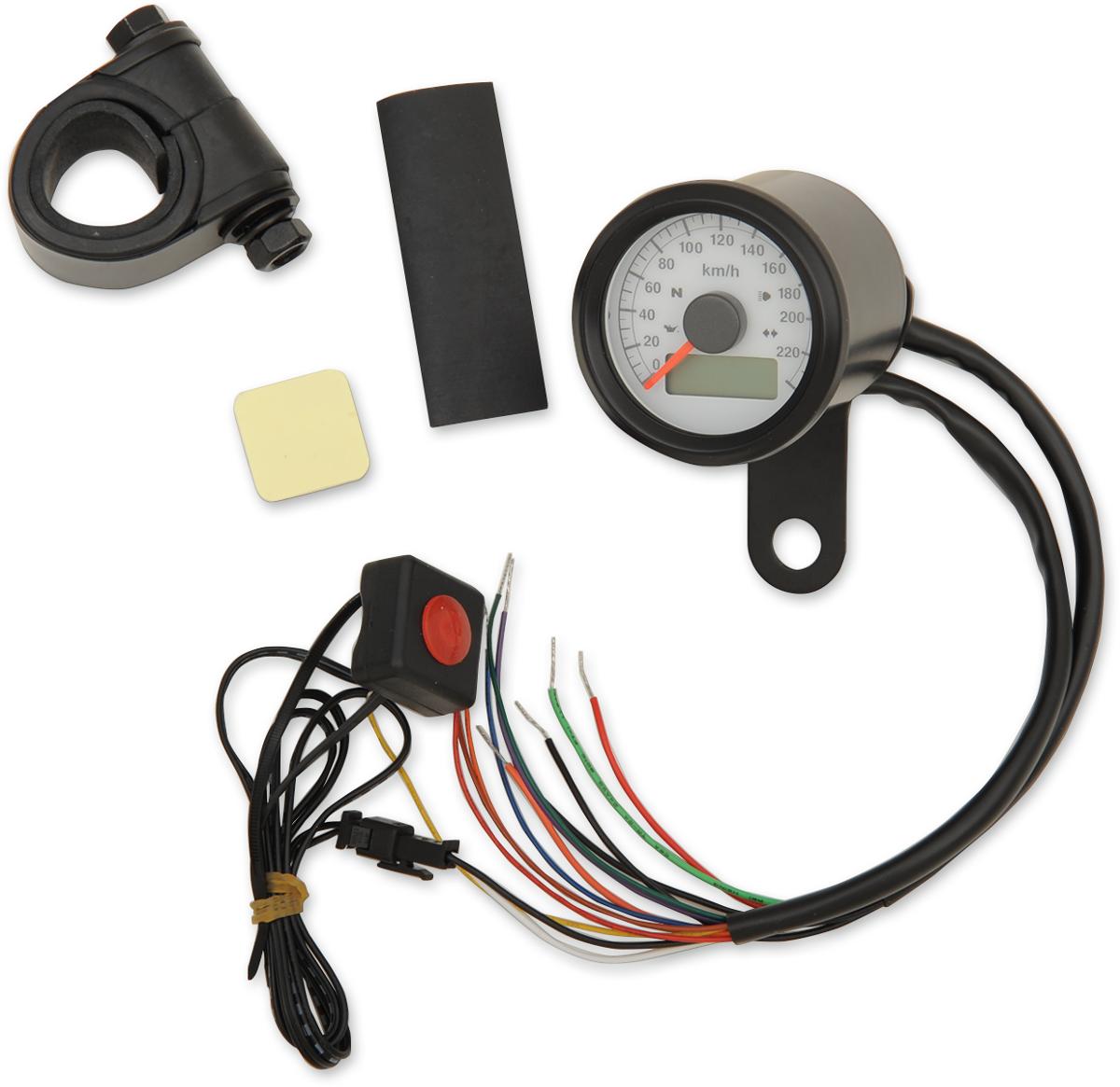 "Drag Specialties KPH 1 7/8"" Black White Face Speedo Speedometer Harley Davidson"