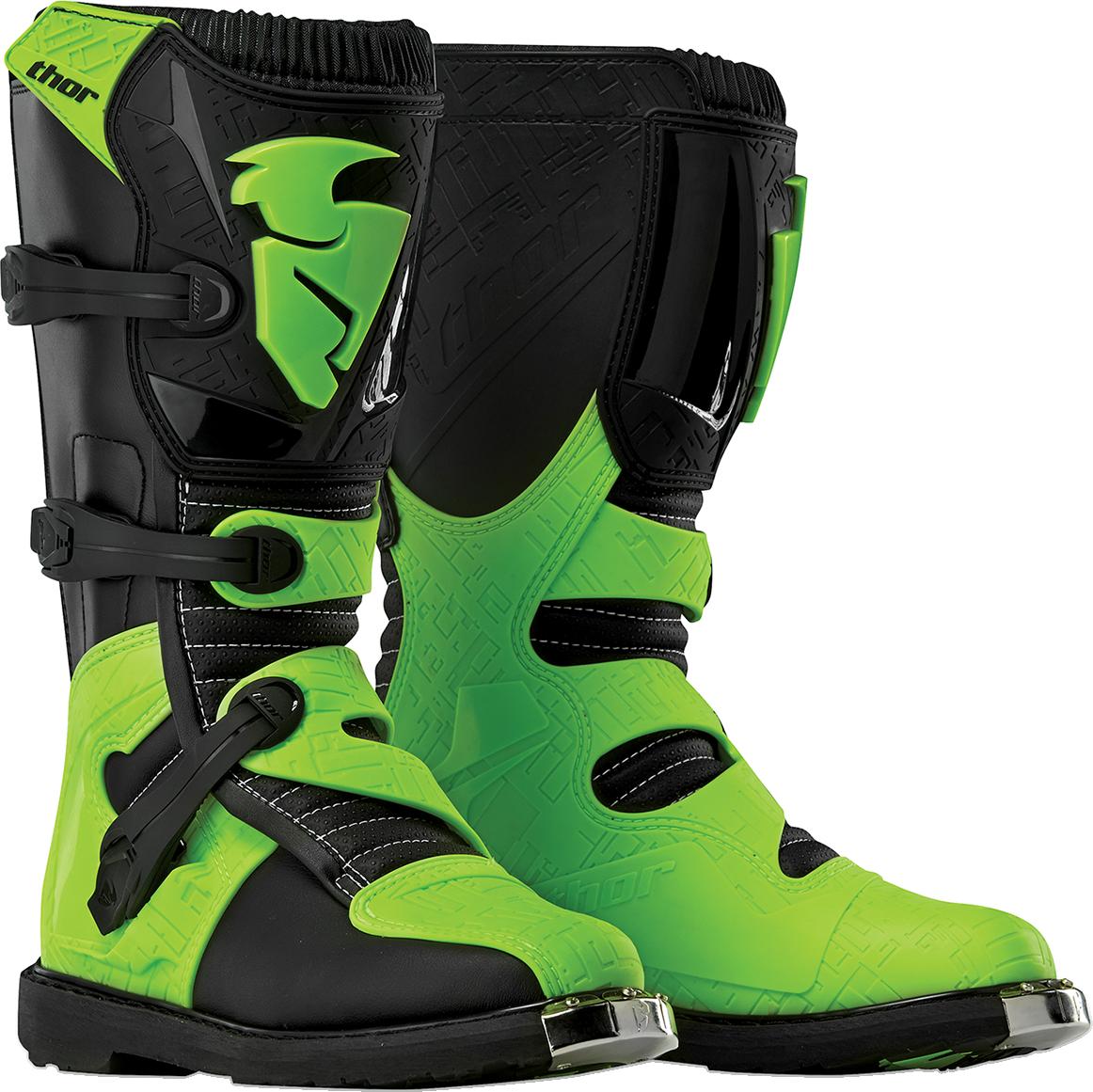 Thor Mens Black Flo Green Size 11 Dirt Bike Riding Offroad MX Racing Blitz Boots