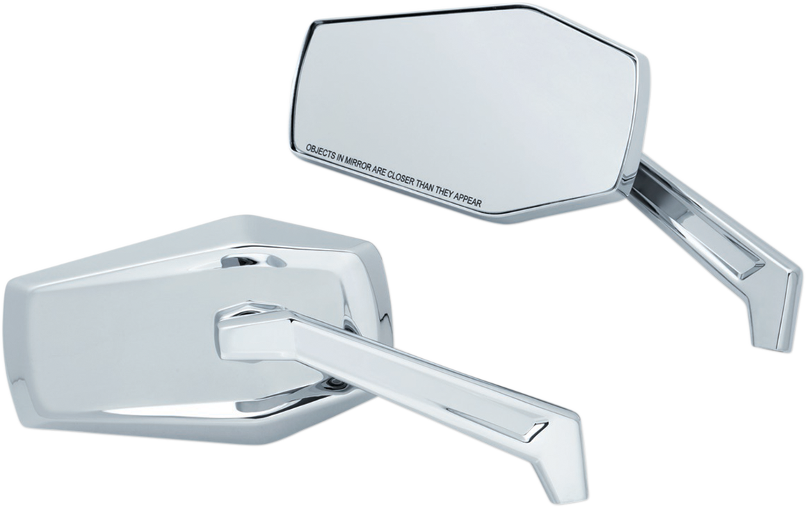 Kuryakyn 5918 Chrome Hex Convex Wide Angle Handlebar Mirrors for Harley Davidson