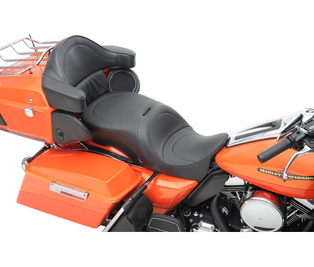 LARGE TOURING SEATS WITH FORWARD POSITIONING THAT ACCEPT FRAME-MOUNTED BACKRESTS-
