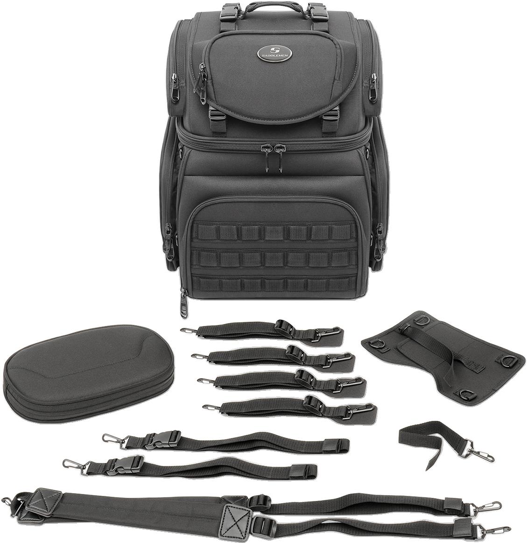 Saddlemen Black Textile BR3400 Tactical Sissy Bar Bag for Harley Davidson