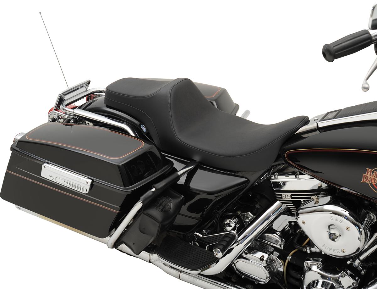 Drag Specialties Black Predator 3 Vinyl Motorcycle Seat for 97-07 Harley Touring