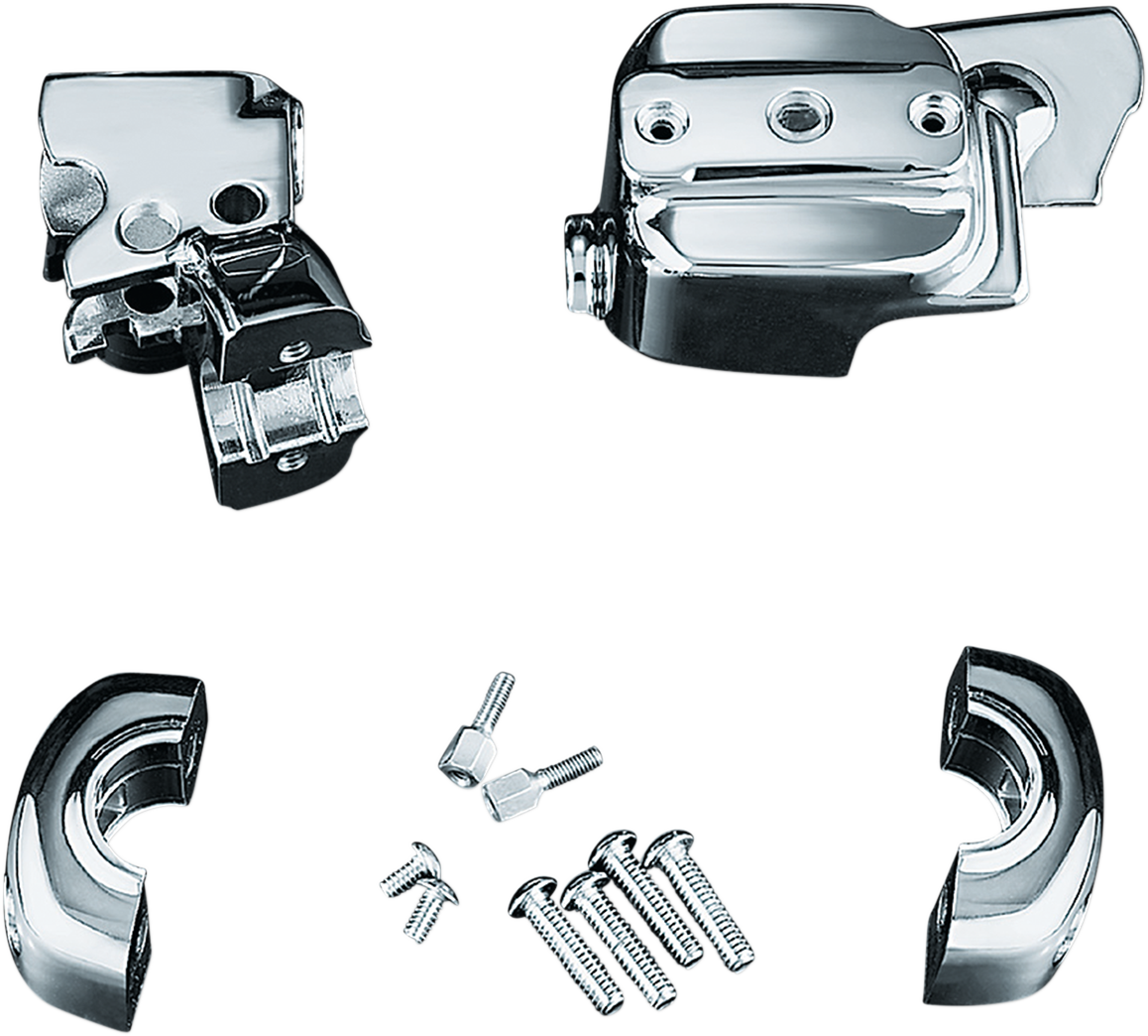 Kuryakyn 9126 Chrome Handlebar Control Cover Kit for 96-17 Harley Dyna Softail