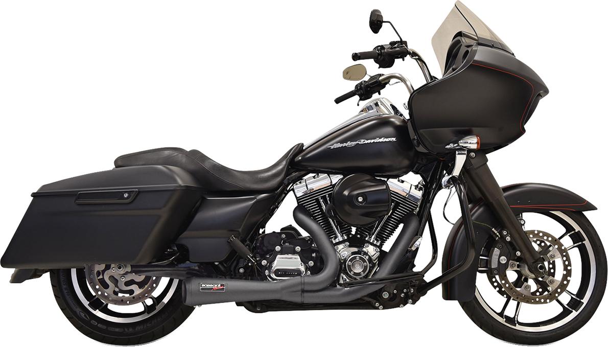 Bassani Black 2-1 Short Road Rage Exhaust 95-16 Harley Touring FLHX FLHR FLTRU