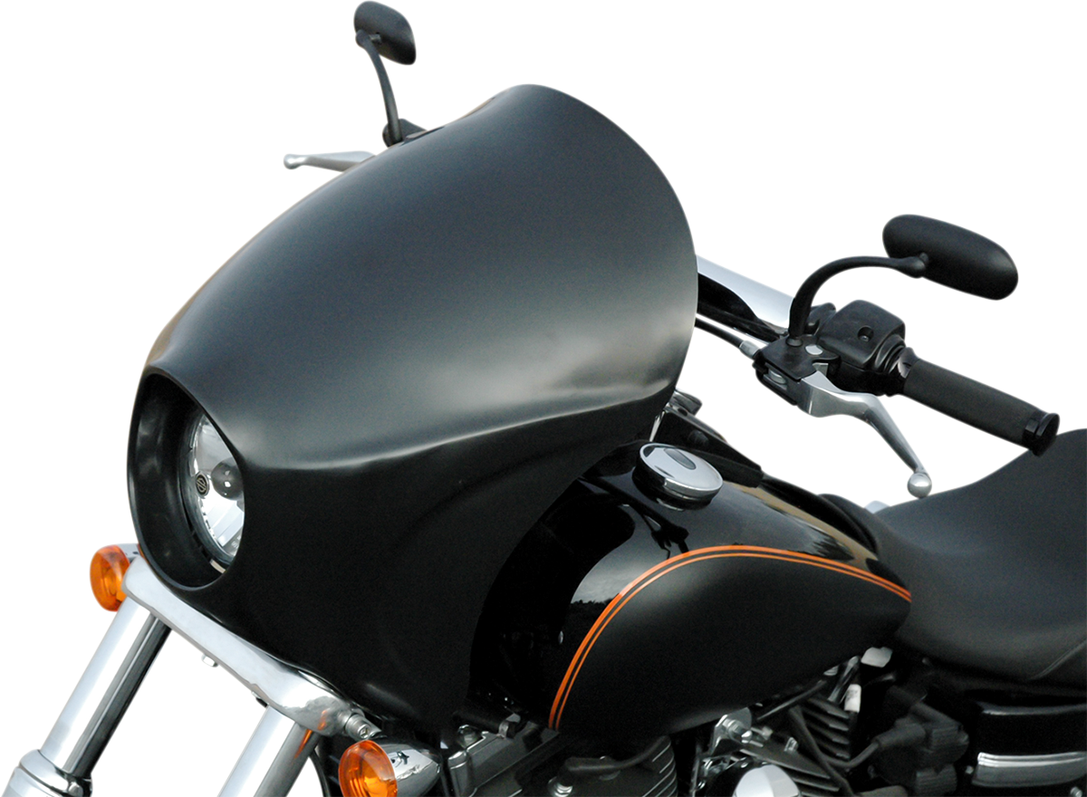 Russ Wernimont Black Plastic Front Long Cafe Fairing for 06-17 Harley FXDB FXDL